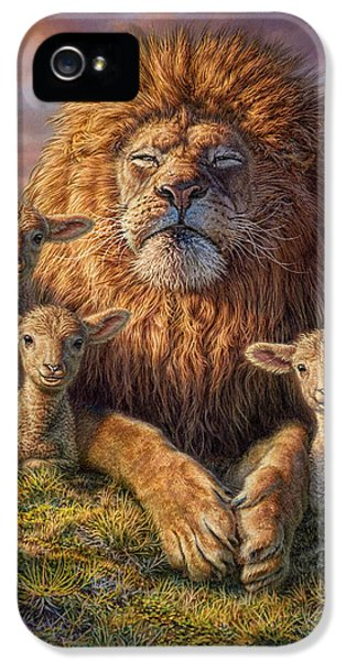 Lion iPhone 5 Case - Lion And Lambs by Phil Jaeger