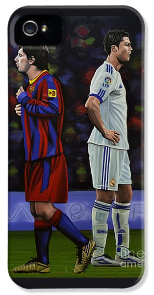 Lionel Messi And Cristiano Ronaldo IPhone 5 Case by Paul Meijering