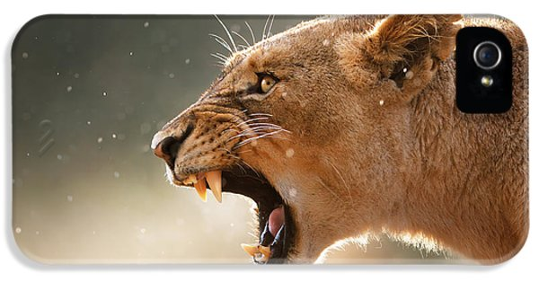 Lioness Displaying Dangerous Teeth In A Rainstorm IPhone 5 Case by Johan Swanepoel