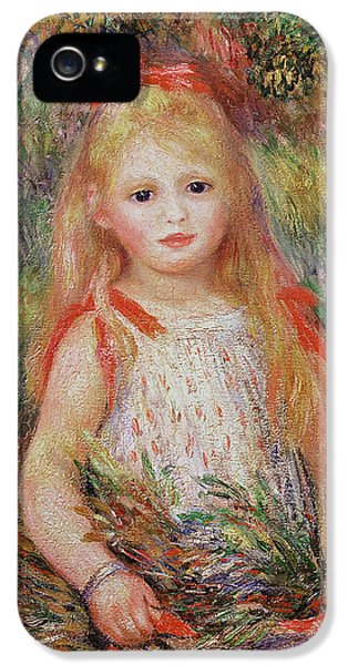 Little Girl Carrying Flowers IPhone 5 Case by Pierre Auguste Renoir