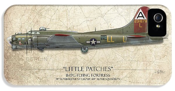 Little Patches B-17 Flying Fortress - Map Background IPhone 5 / 5s Case by Craig Tinder