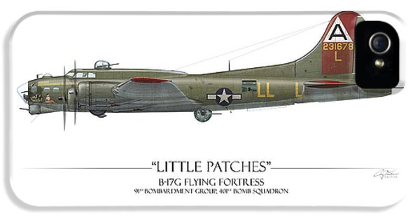 Little Patches B-17 Flying Fortress - White Background IPhone 5 / 5s Case by Craig Tinder