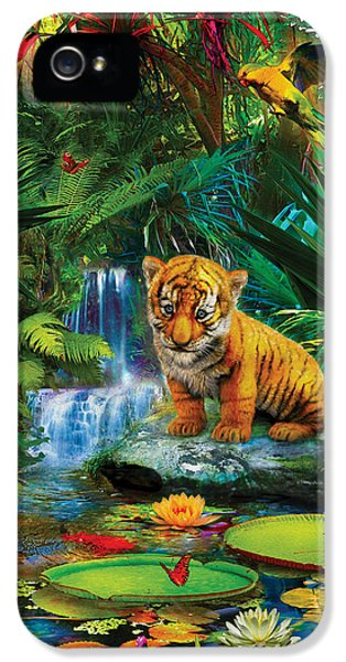 IPhone 5 Case featuring the drawing Little Tiger by Jan Patrik Krasny