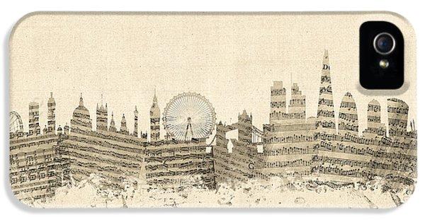 London England Skyline Sheet Music Cityscape IPhone 5 Case by Michael Tompsett