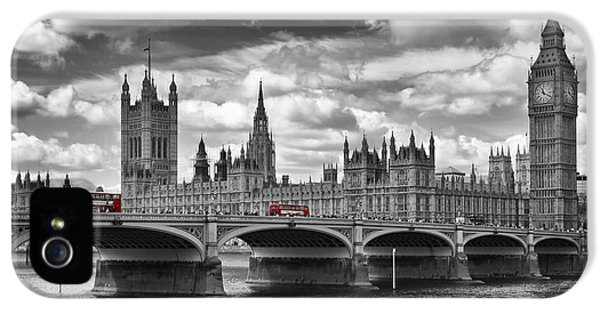 London - Houses Of Parliament And Red Buses IPhone 5 / 5s Case by Melanie Viola