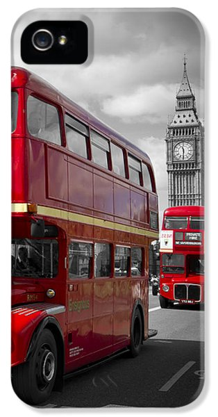 London Red Buses On Westminster Bridge IPhone 5 Case by Melanie Viola