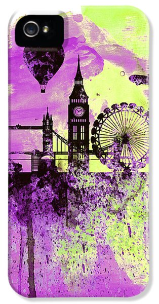 London Skyline Watercolor 1 IPhone 5 Case by Naxart Studio