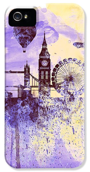 London Watercolor Skyline IPhone 5 Case by Naxart Studio