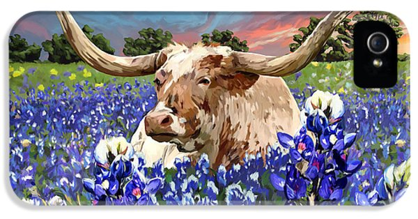 Bluebonnets iPhone 5 Case - Longhorn In Bluebonnets by Tim Gilliland