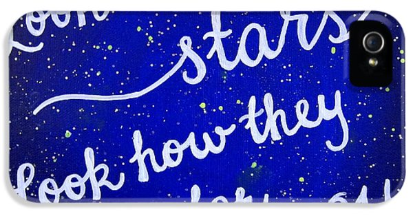 Look At The Stars Quote Painting IPhone 5 Case by Michelle Eshleman