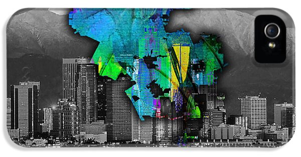 Los Angeles Map And Skyline Watercolor IPhone 5 Case