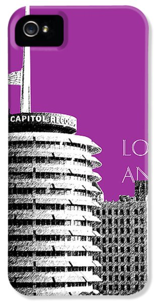 Los Angeles Skyline Capitol Records - Plum IPhone 5 Case by DB Artist