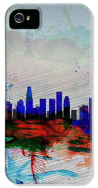 Los Angeles  Watercolor Skyline 1 IPhone 5 Case by Naxart Studio