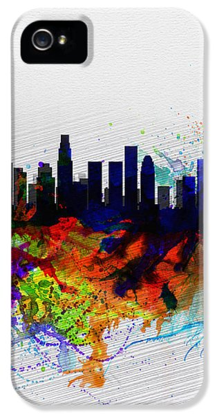 Los Angeles  Watercolor Skyline 2 IPhone 5 Case by Naxart Studio