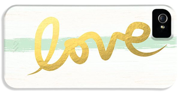 Love In Mint And Gold IPhone 5 Case