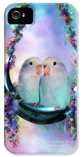 Lovebird iPhone 5 Case - Love On A Moon Swing by Carol Cavalaris