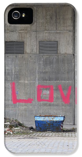 Love - Pink Painting On Grey Wall IPhone 5 Case by Matthias Hauser