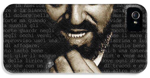 Luciano Pavarotti IPhone 5 Case by Tony Rubino