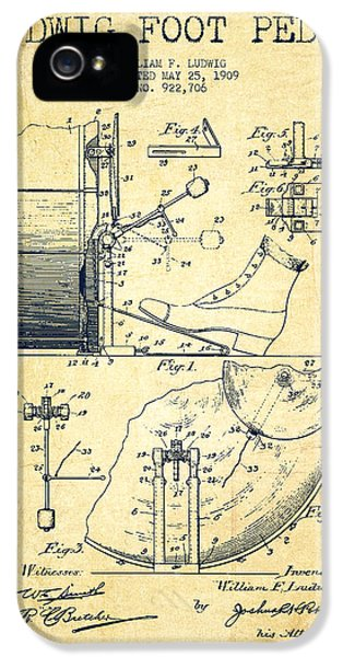 Folk Art iPhone 5 Case - Ludwig Foot Pedal Patent Drawing From 1909 - Vintage by Aged Pixel