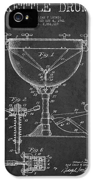 Drum iPhone 5 Case - Ludwig Kettle Drum Drum Patent Drawing From 1941 - Dark by Aged Pixel