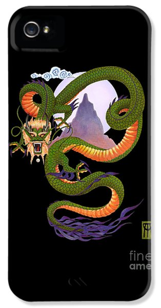 Dragon iPhone 5 Case - Lunar Chinese Dragon On Black by Melissa A Benson