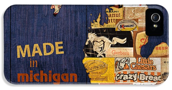 Made In Michigan Products Vintage Map On Wood IPhone 5 Case by Design Turnpike