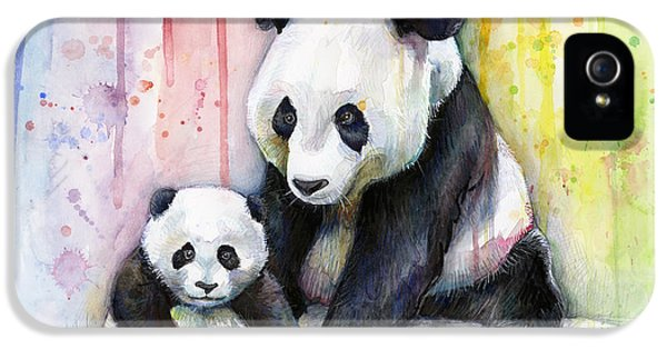 Panda Watercolor Mom And Baby IPhone 5 Case by Olga Shvartsur