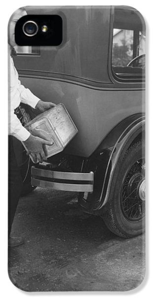 Man Filling Car With Fuel IPhone 5 Case by Underwood Archives