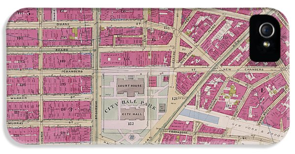Manhattan, V. 4, Double Page Plate No. 5 Map Bounded IPhone 5 Case