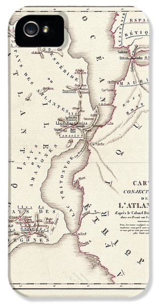 Map Of Atlantis IPhone 5 Case by Library Of Congress, Geography And Map Division