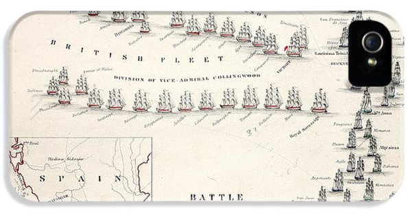 Map Of The Battle Of Trafalgar IPhone 5 Case by Alexander Keith Johnson
