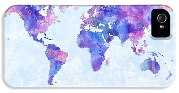 Map Of The World Map Watercolor Painting IPhone 5 Case