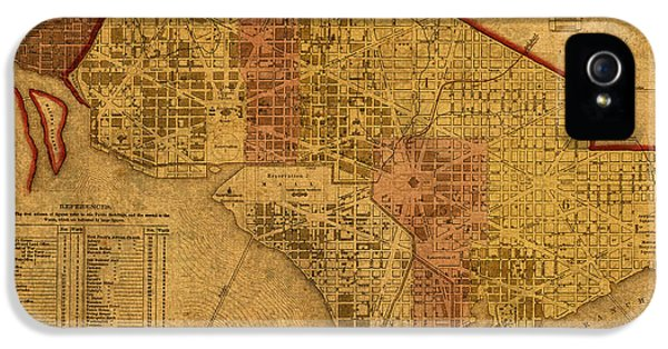 Map Of Washington Dc In 1850 Vintage Old Cartography On Worn Distressed Canvas IPhone 5 Case by Design Turnpike