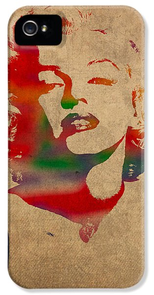 Marilyn Monroe Watercolor Portrait On Worn Distressed Canvas IPhone 5 Case by Design Turnpike