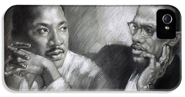 Martin Luther King Jr And Malcolm X IPhone 5 Case by Ylli Haruni