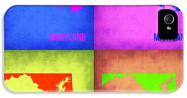 Maryland Pop Art Map 1 IPhone 5 Case by Naxart Studio