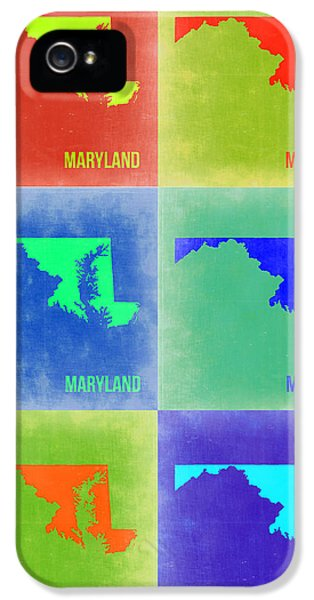 Maryland Pop Art Map 2 IPhone 5 Case by Naxart Studio