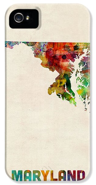 Maryland Watercolor Map IPhone 5 Case by Michael Tompsett