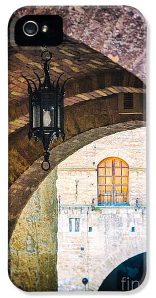 IPhone 5 Case featuring the photograph Medieval Arches With Lamp by Silvia Ganora