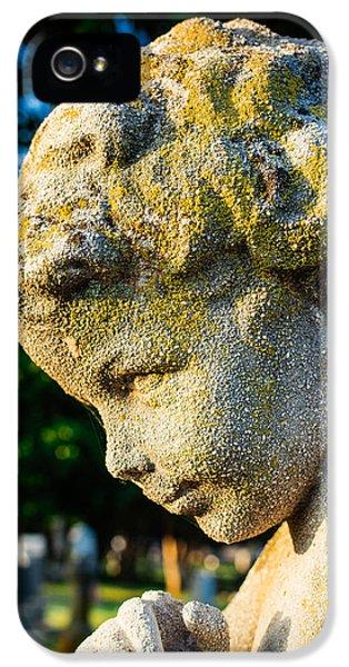 Memphis Elmwood Cemetery - Boy Angel Vertical IPhone 5 Case by Jon Woodhams
