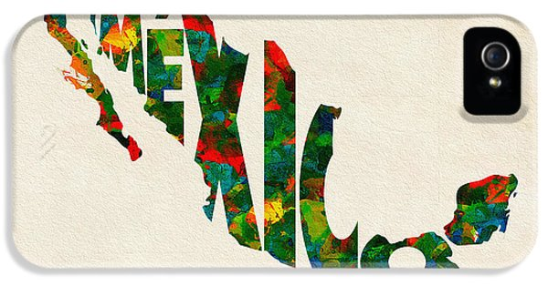 Mexico Typographic Watercolor Map IPhone 5 Case