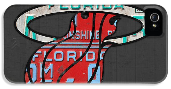 Miami Heat Basketball Team Retro Logo Vintage Recycled Florida License Plate Art IPhone 5 / 5s Case by Design Turnpike