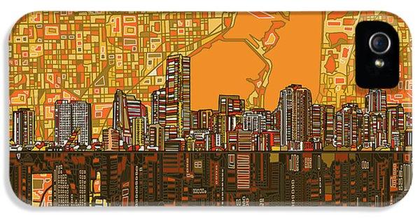 Miami Skyline iPhone 5 Case - Miami Skyline Abstract 5 by Bekim Art