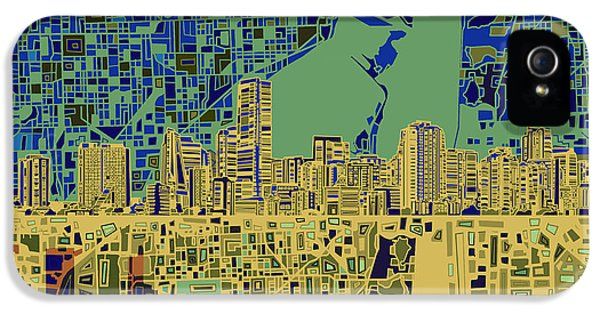 Miami Skyline iPhone 5 Case - Miami Skyline Abstract 7 by Bekim Art
