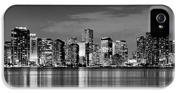 Miami iPhone 5 Case - Miami Skyline At Dusk Black And White Bw Panorama by Jon Holiday
