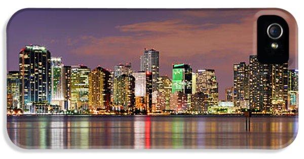 Miami iPhone 5 Case - Miami Skyline At Dusk Sunset Panorama by Jon Holiday