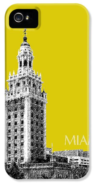 Miami Skyline Freedom Tower - Mustard IPhone 5 Case by DB Artist