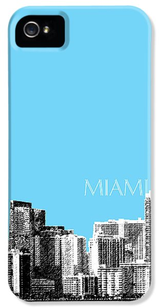 Miami Skyline - Sky Blue IPhone 5 Case by DB Artist