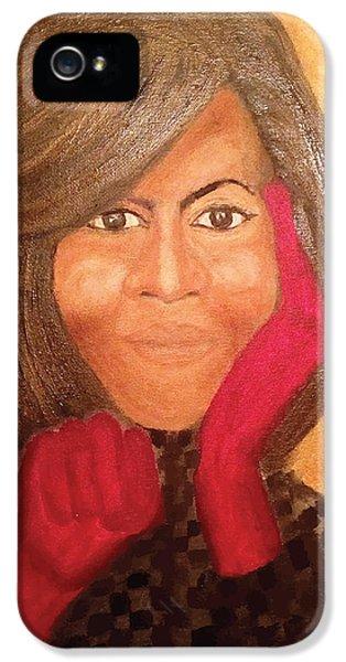 Michelle Obama IPhone 5 Case by Ginnie McKnight