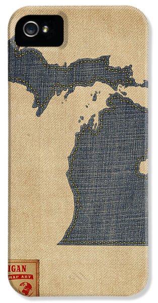 Michigan Map Denim Jeans Style IPhone 5 Case by Michael Tompsett